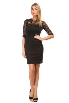 Черное платье с кружевными рукавами Mondigo со скидкой